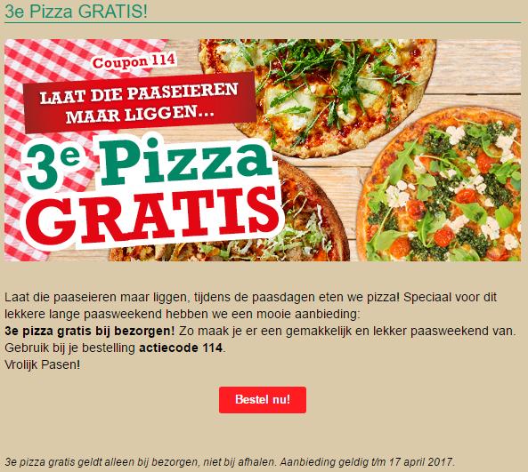 3de New York pizza gratis bij afhalen t/m 17 april 2017 @ NY