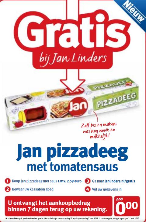 Gratis Jan Pizzadeeg met tomatensaus @ Jan Linders
