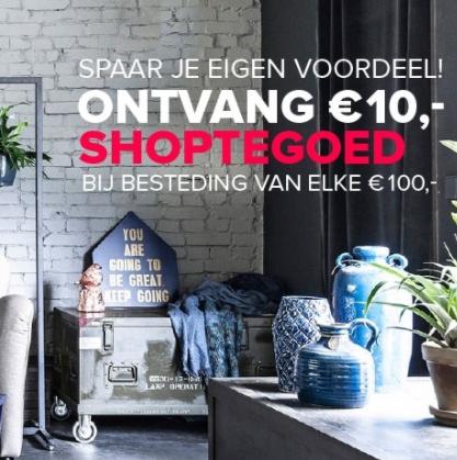 €10 shoptegoed bij elke €100 besteding @ VTwonen.nl