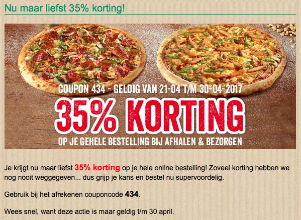 35% korting op je totale bestelling @ New York Pizza