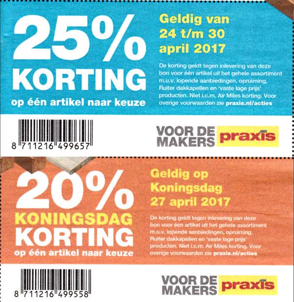 25% en/of 20% korting op 1 art. naar keuze @ Praxis