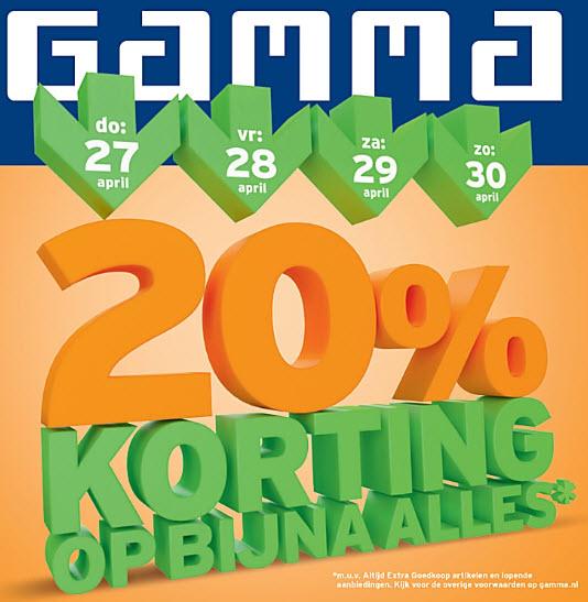 20% korting op bijna alles* van 27 t/m 30 april @ Gamma