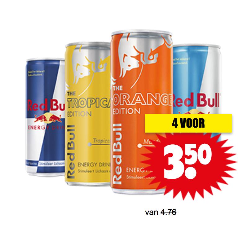 4-Pack 250ml Red Bull (€0,88 per blikje) @ Dirk