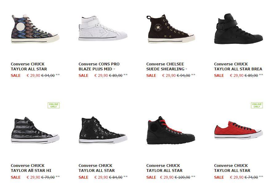Converse sneakers voor €29,90 - 40 varianten @ Sidestep