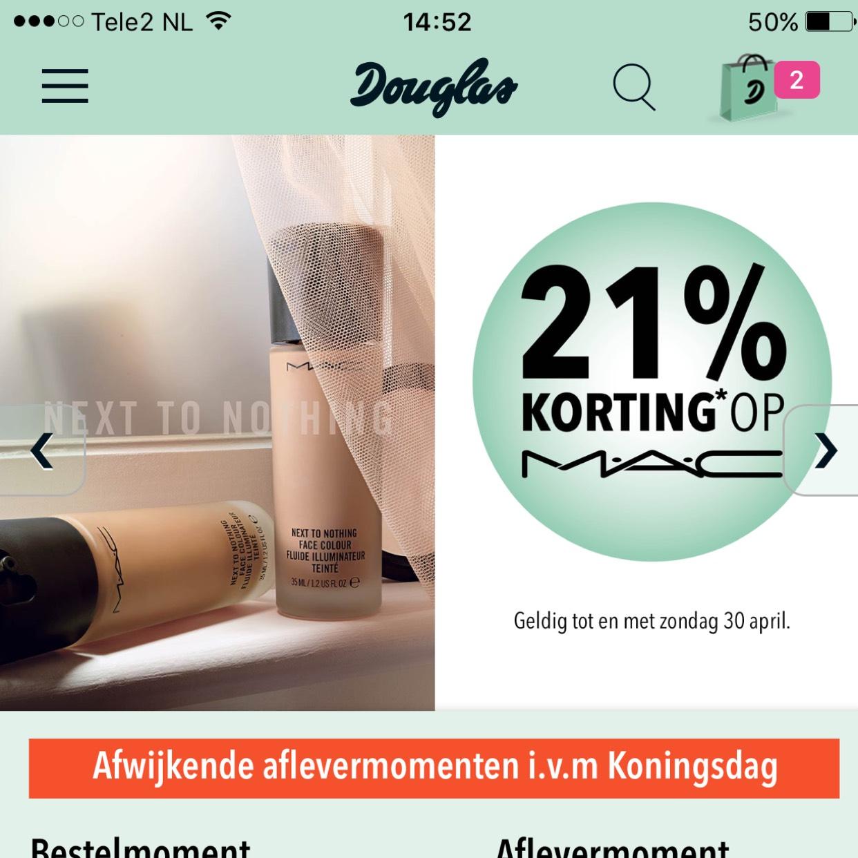 21% korting op MAC producten @Douglas