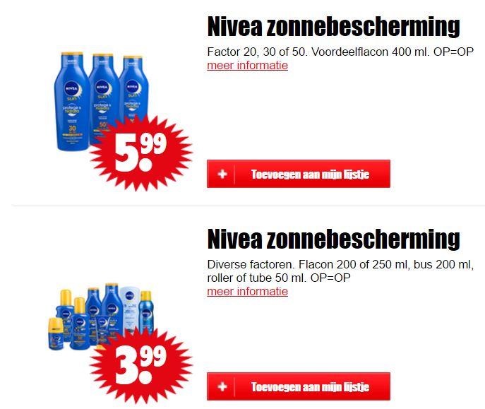 Nivea zonbescherming €3,99 / €5,99 @ Dirk