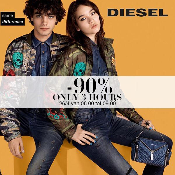 6-9 uur Diesel dames & heren 90% korting @ Maison Lab