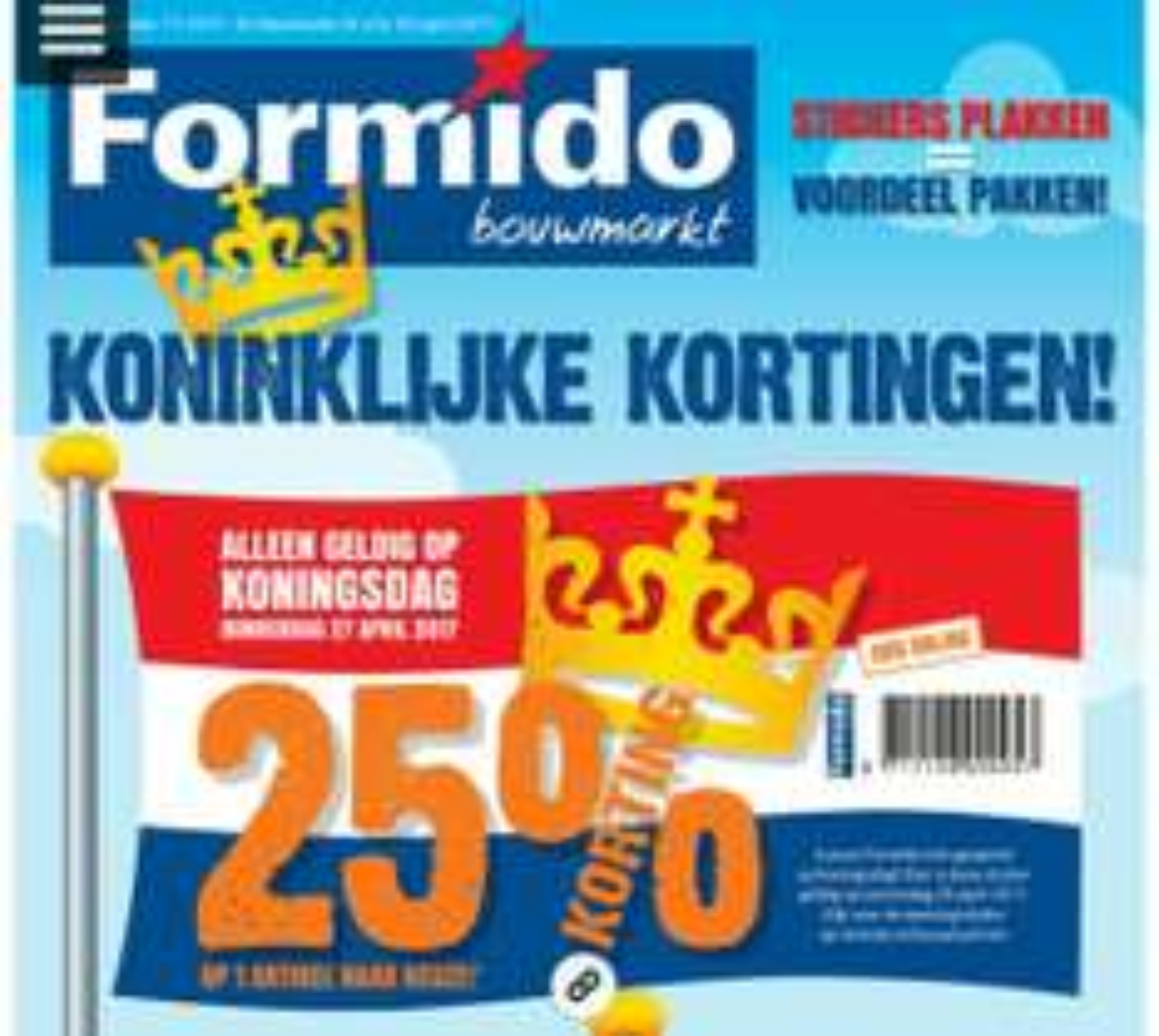 Op Koningsdag 25% korting op 1x artikel naar keuze @ Formido