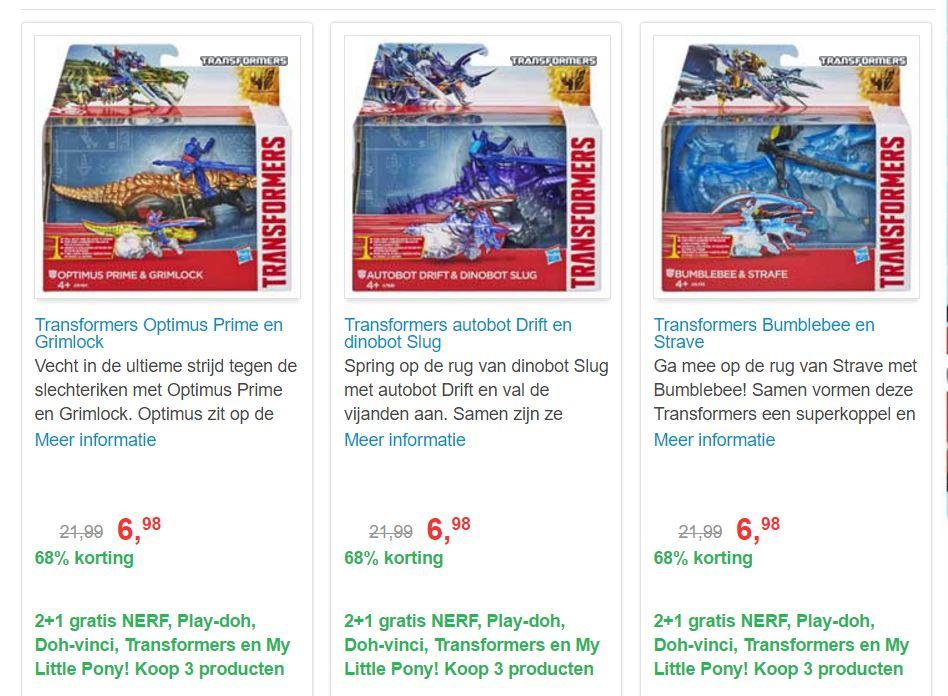 Transformers 68% korting: €6,98 & 2+1 gratis @ Bart Smit