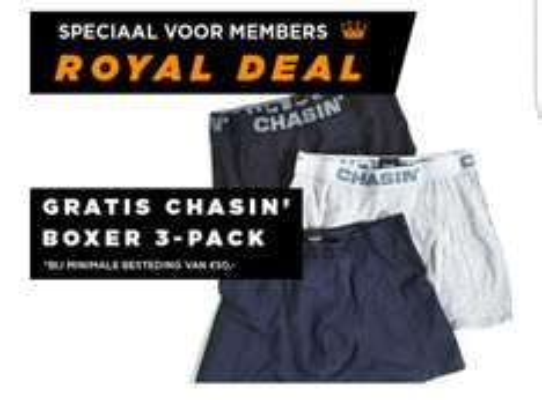 VANDAAG: Gratis 3-pack Chasin' boxer bij bestelling