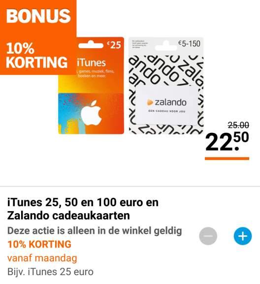 10% korting op iTunes en Zalando cadeaukaarten @ AH