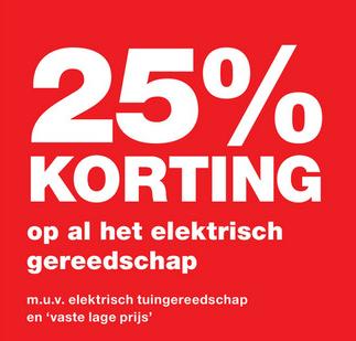 25% korting op elektrisch gereedschap @ Praxis