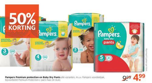 Pampers Premium + Pants 50% korting @ Etos