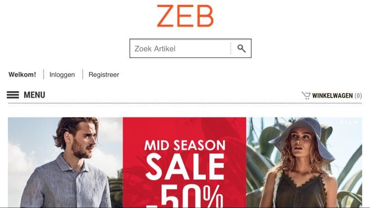 50% korting op geselecteerde items @ ZEB