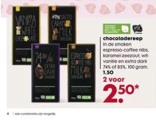 chocoladereep 2 voor 2.50 bij HEMA
