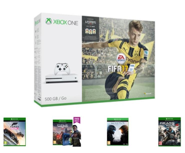 Xbox One S 500GB console + FIFA 17 + Forza Horizon 3 + Halo Wars 2 + Halo 5 + Gears of War 4 + Now TV (2 maanden)  voor €270,- @ Game.co.uk