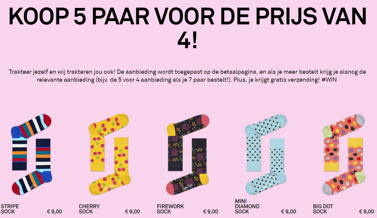 5 Paar halen 4 betalen + gratis verzending @ Happy Socks