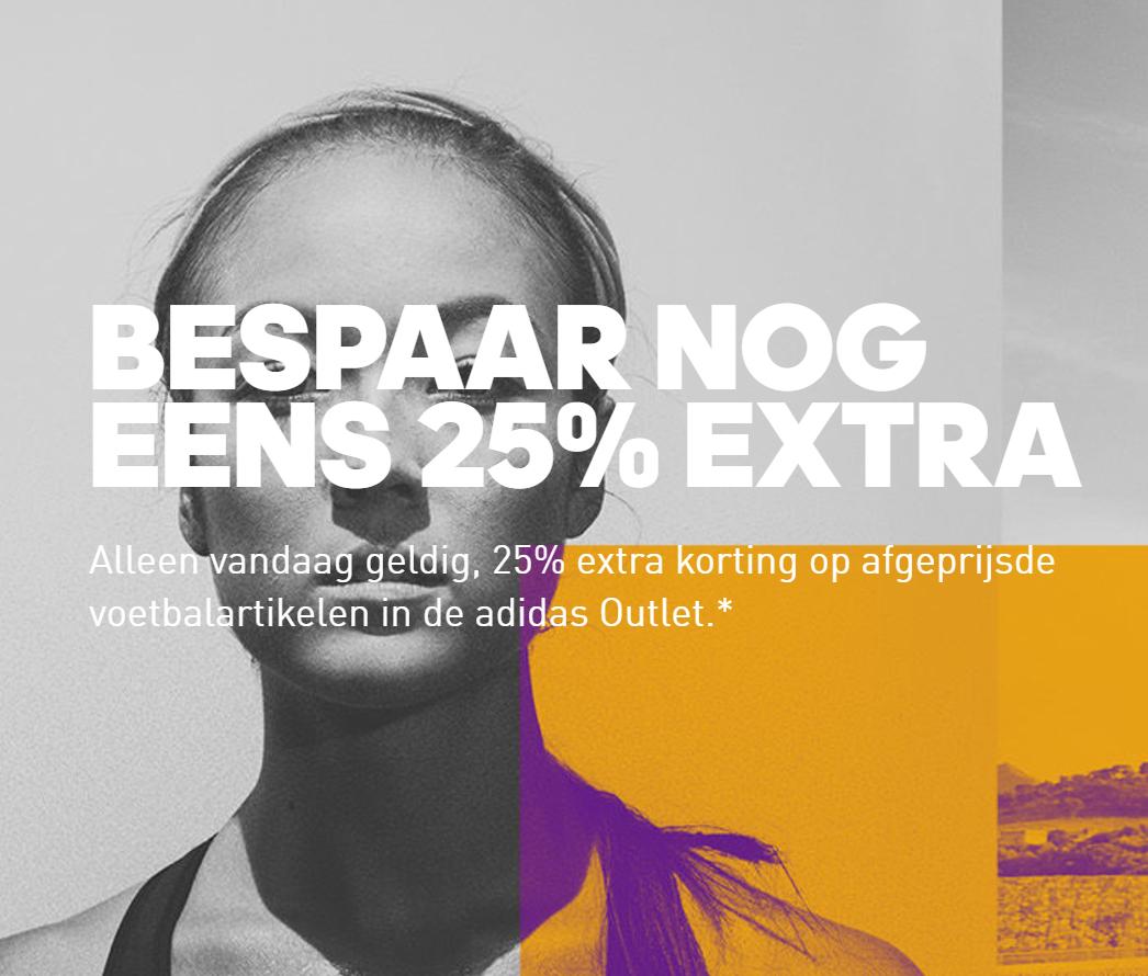 Vandaag 25% extra korting op voetbal outlet @ Adidas