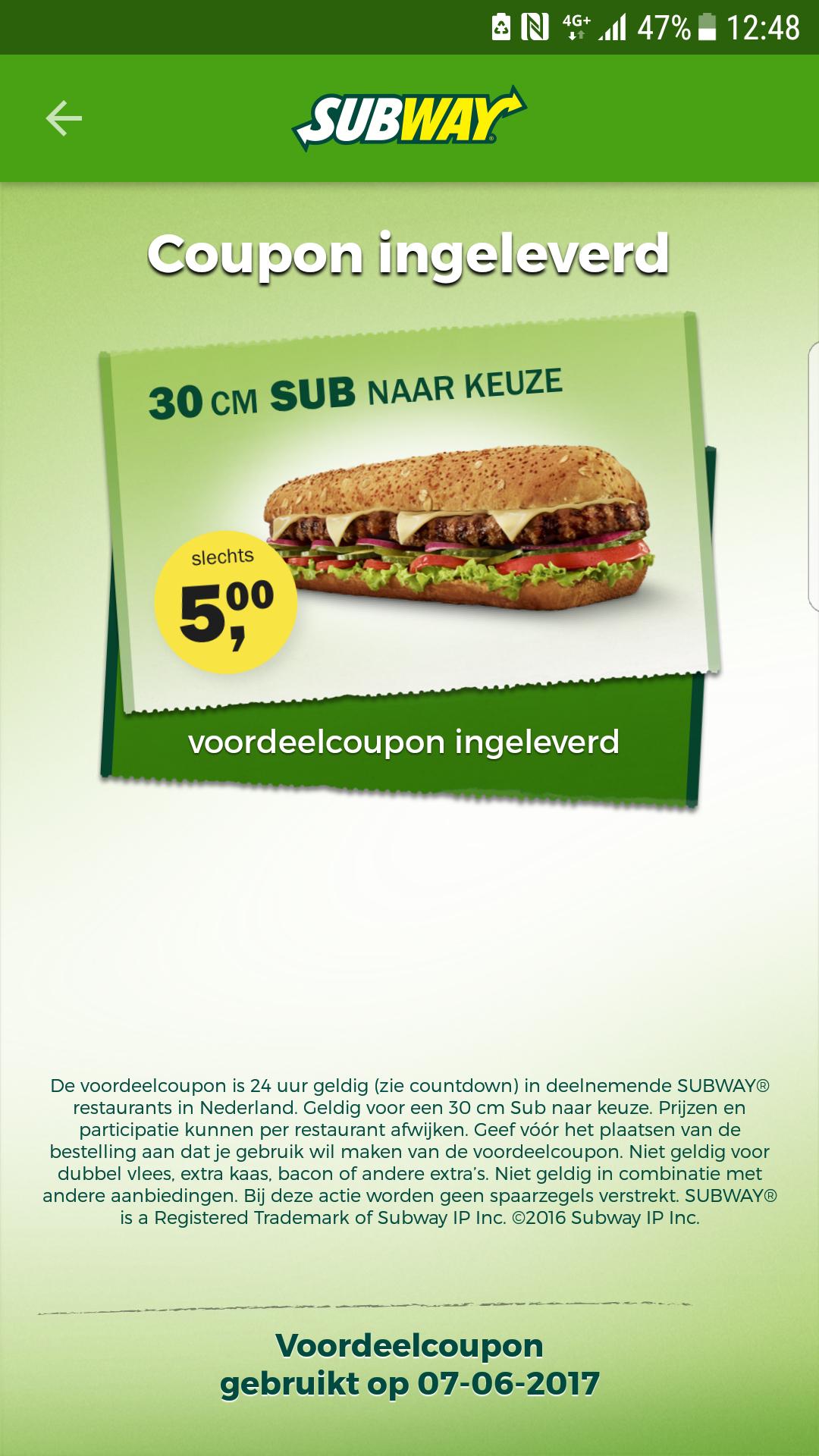 Sub naar keuze 30 cm @ Subway