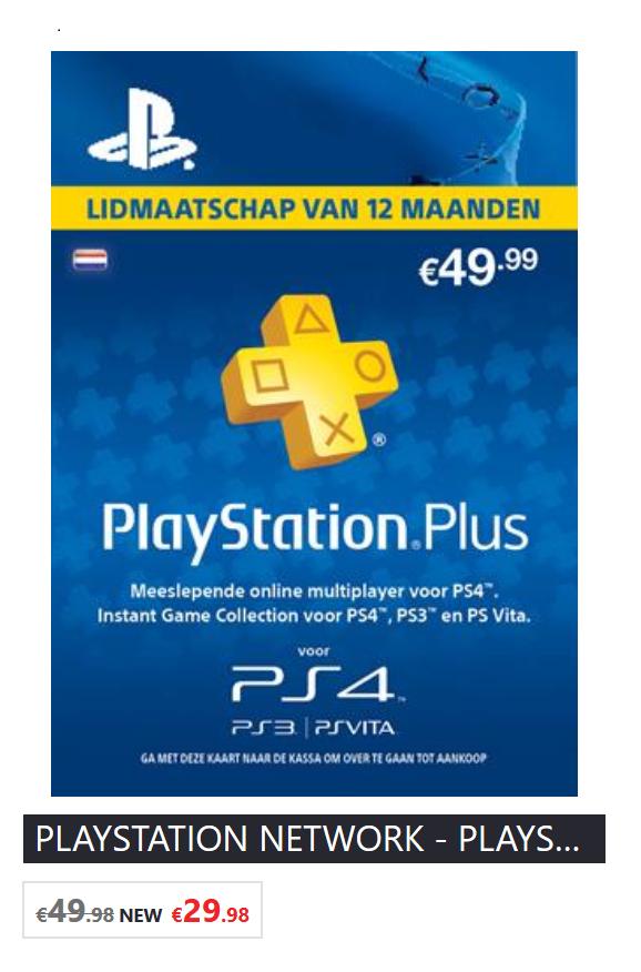 [LAATSTE DAG] PlayStation Plus 12 maanden voor €29,98 (digitale code en fysiek) @ Game Mania (NL en BE)
