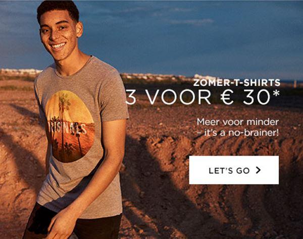 3 T-Shirts voor €30 @ Jack & Jones