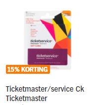 15% korting op Ticketmaster cadeaukaarten