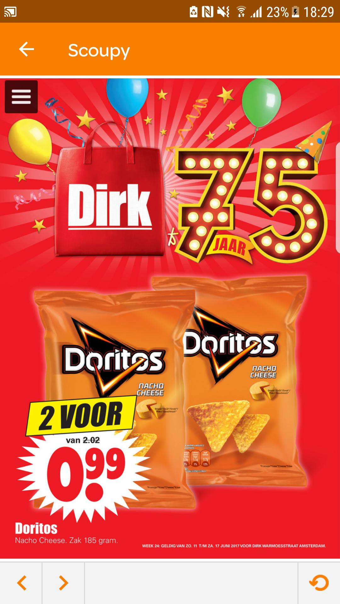 2 zakken Doritos coor €0,99 @ Dirk