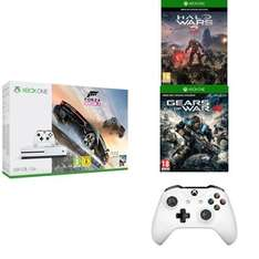 Xbox One S 500 GB + Forza Horizon 3 + Halo Wars 2 + Gears of War 4 + 2e controller voor €260,49 @ Amazon FR