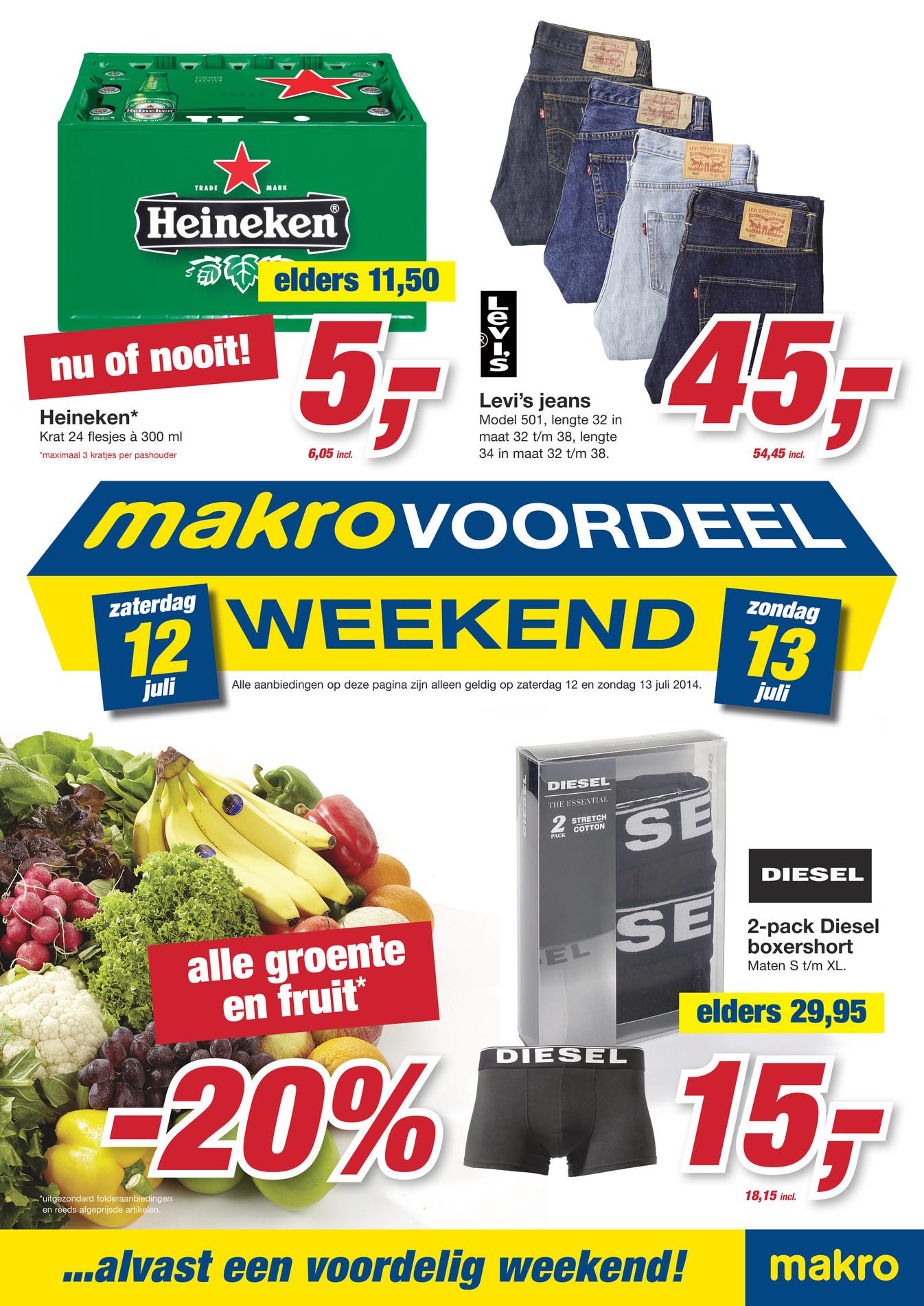 Krat Heineken (24 flessen) dit weekend voor € 6,05 @ Makro