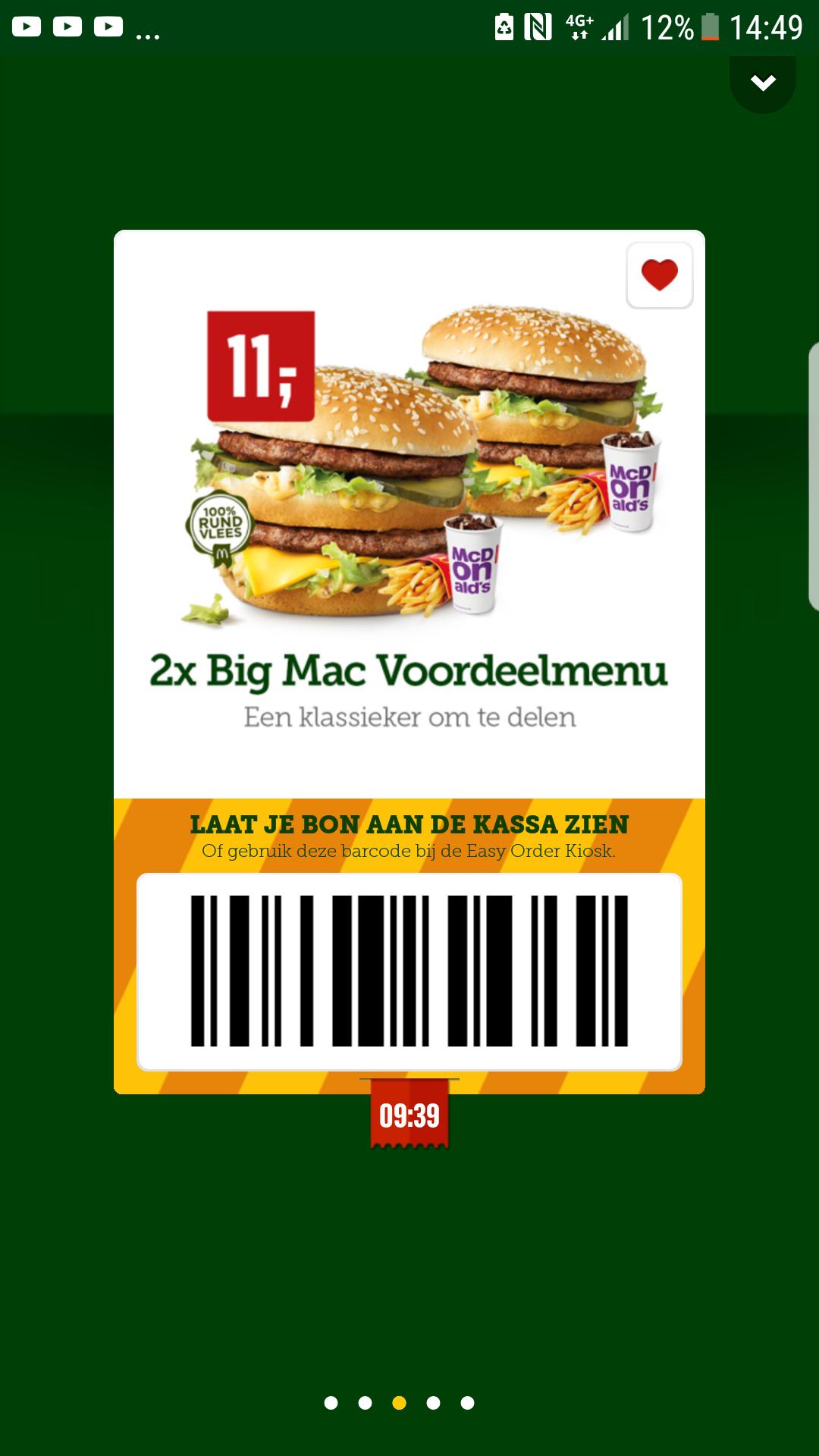 2 x bigmac voordeel menu voor €11 @ McDonalds
