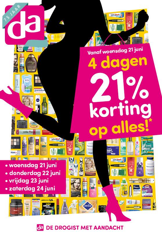 Vanaf woensdag 21 juni: 21% korting op alles @ DA