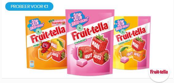 Fruittella 30% minder suiker: van €1,59/€1,69* voor €1 @ Scoupy