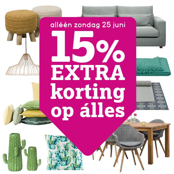 Alleen morgen (zondag) 15% extra korting op alles @ Leenbakker