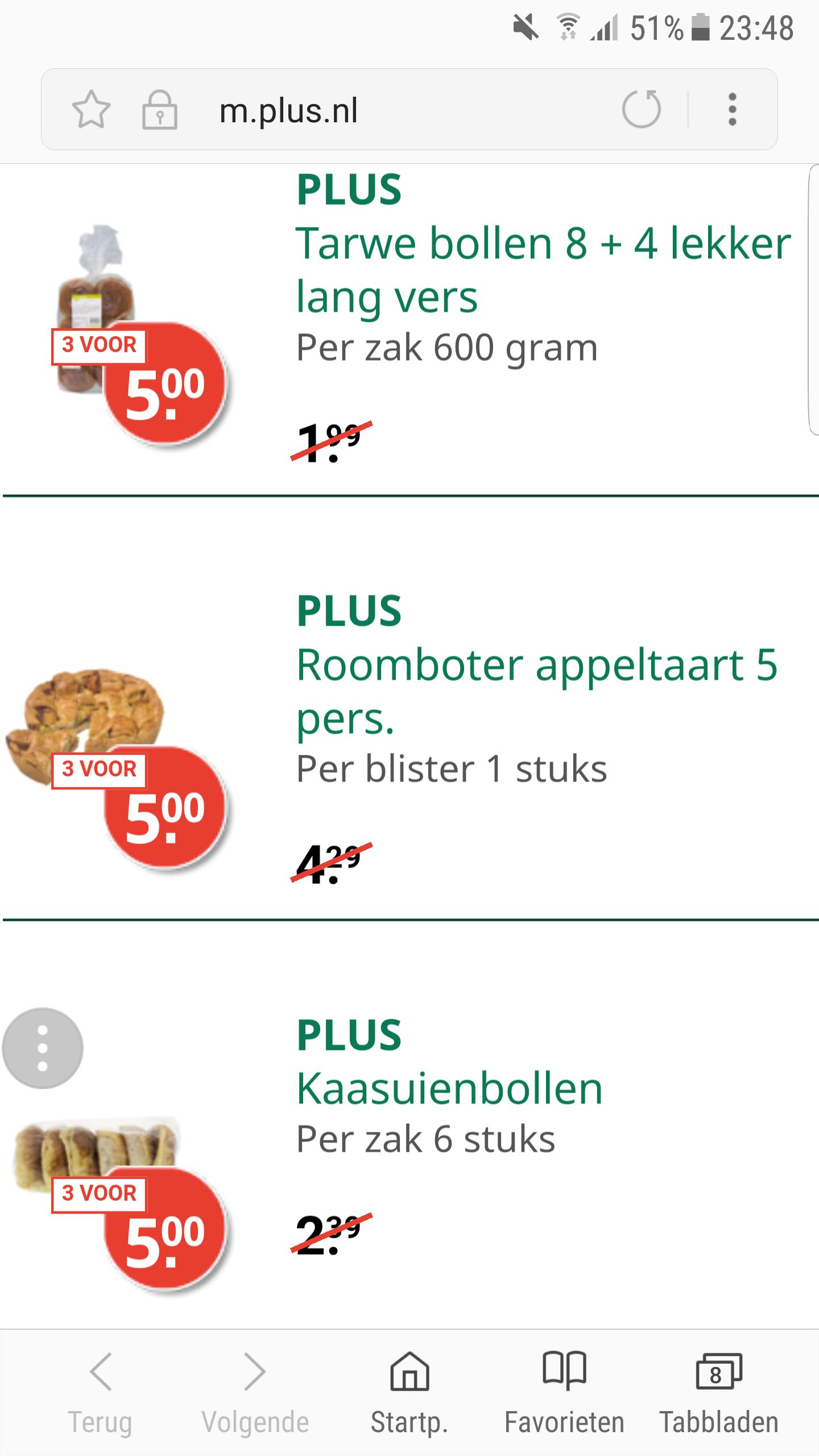 Appeltaart voor €1,66 per stuk (3 stuks) @ Plus, meer dan 61% korting