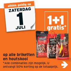(Weber) Briketten/Houtskool 1+1 gratis bij de Gamma op 1 juli