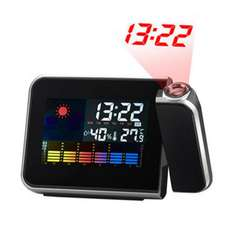 Temperature Humidity Display LED Projection Alarm Clock - Black