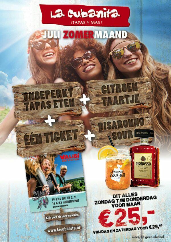 Onbeperkt tapas eten@la cubanita  en ticket voor walibi lekkergaan festival dagen voor €25
