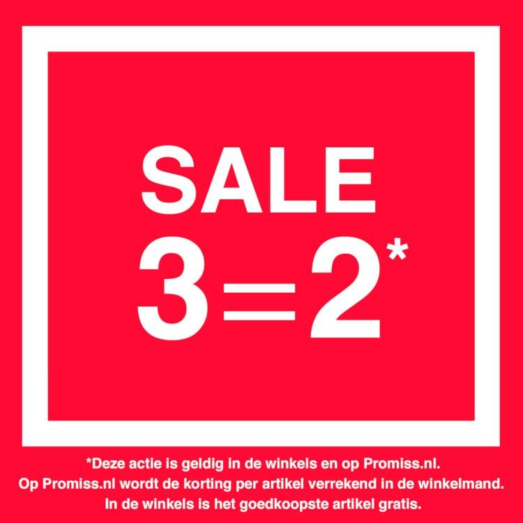 Alle Sale 3 = 2 + 10% extra met code @ Promiss