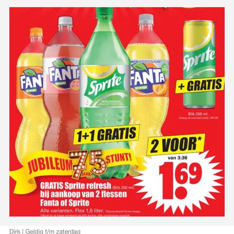 2 flessen sprite of fanta voor maar €1,69 bij dirk