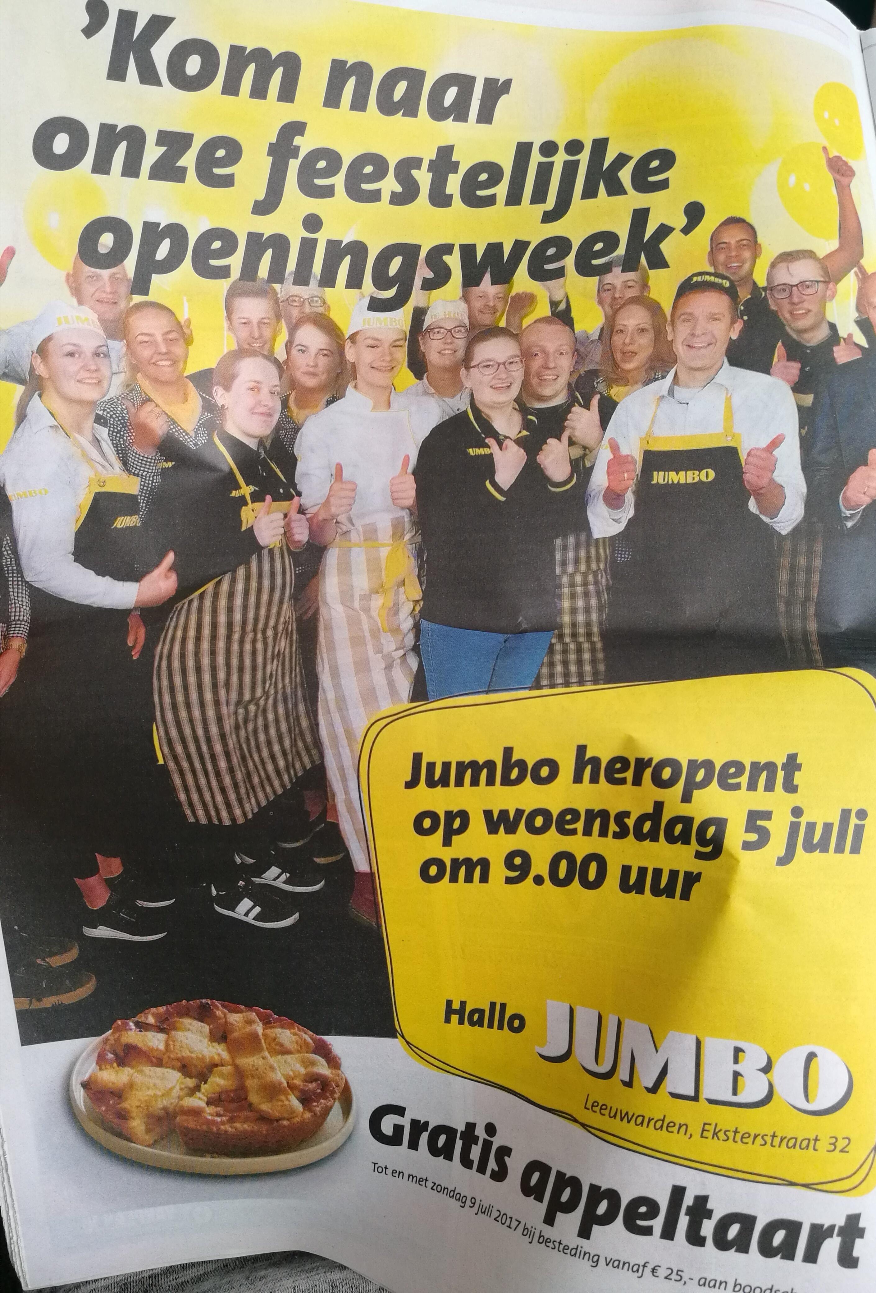 Gratis appeltaart bij €25 aan boodschappen @ Jumbo Eksterstraat Leeuwarden