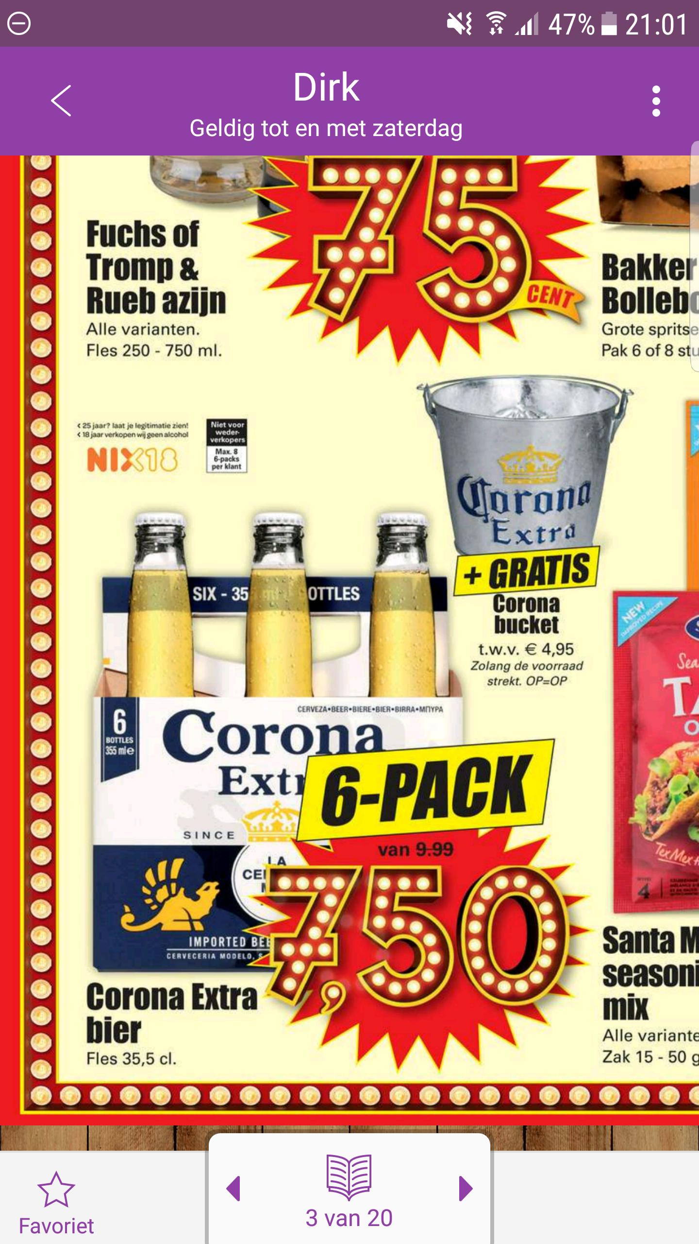 6 Corona voor €7.50 + gratis Corona bucket t.w.v. €4.95 @ Dirk
