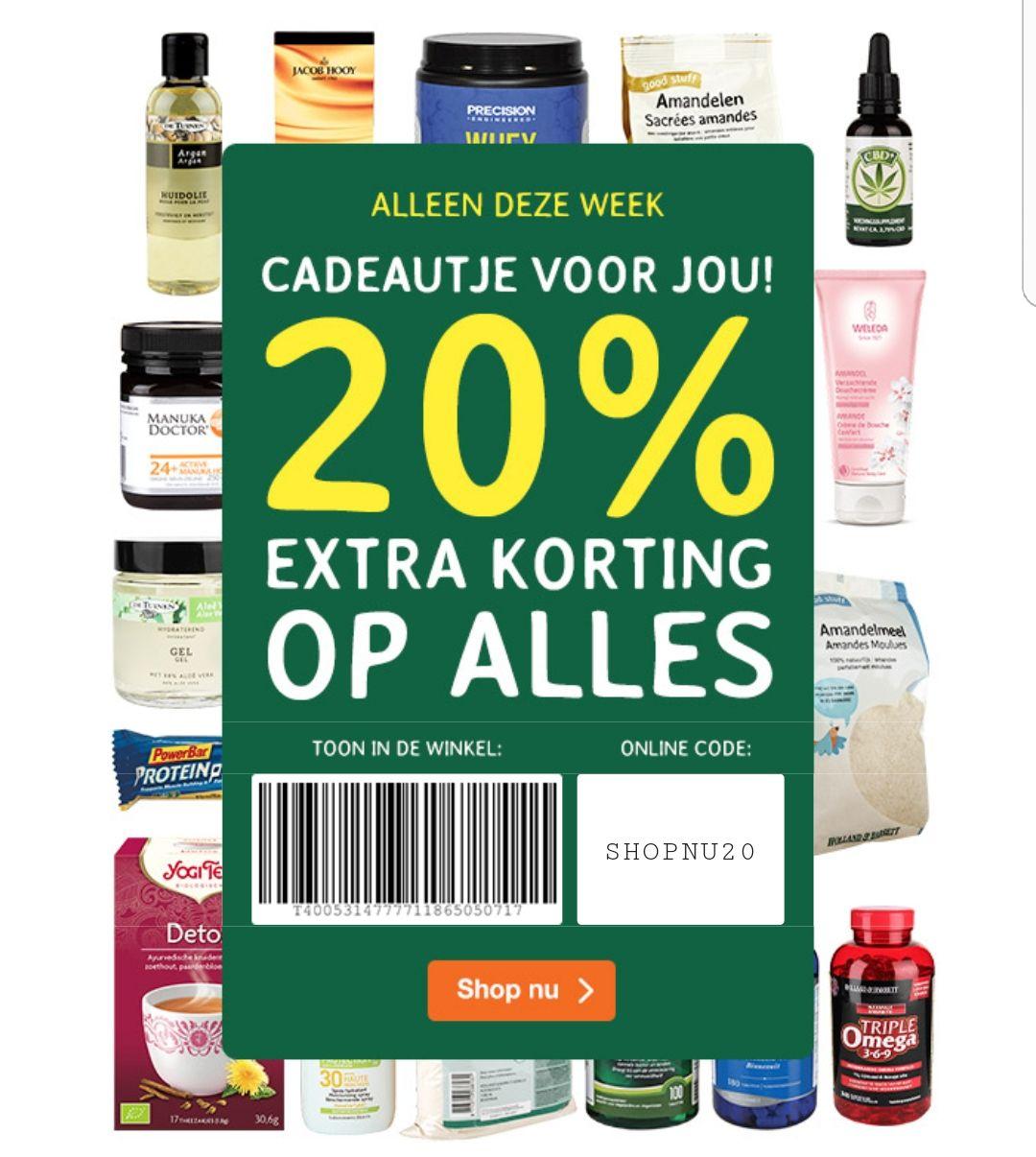 20% extra korting op alles bij De Tuinen/ Holland & Barret
