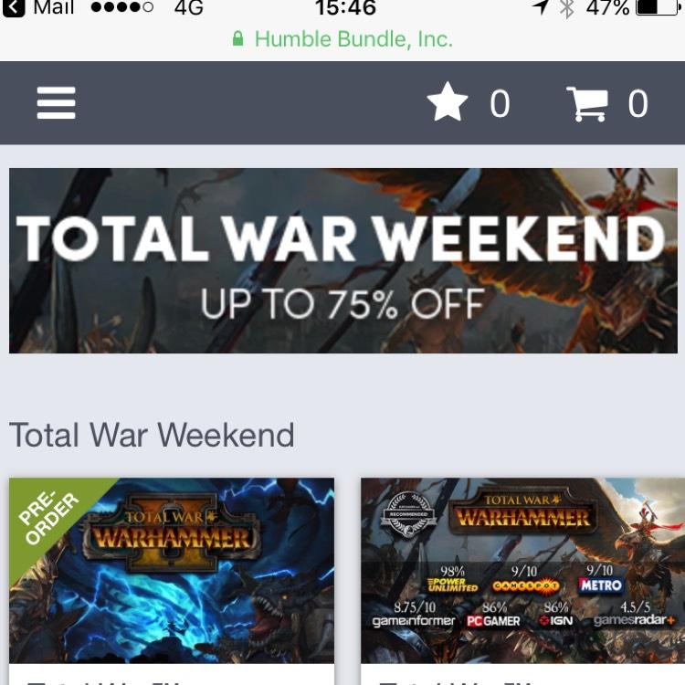 Total war weekend humble bundle