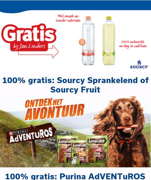 Gratis Sourcy sprankelend of Fruit en /of Purina AdVENTuROS @ Jan Linders