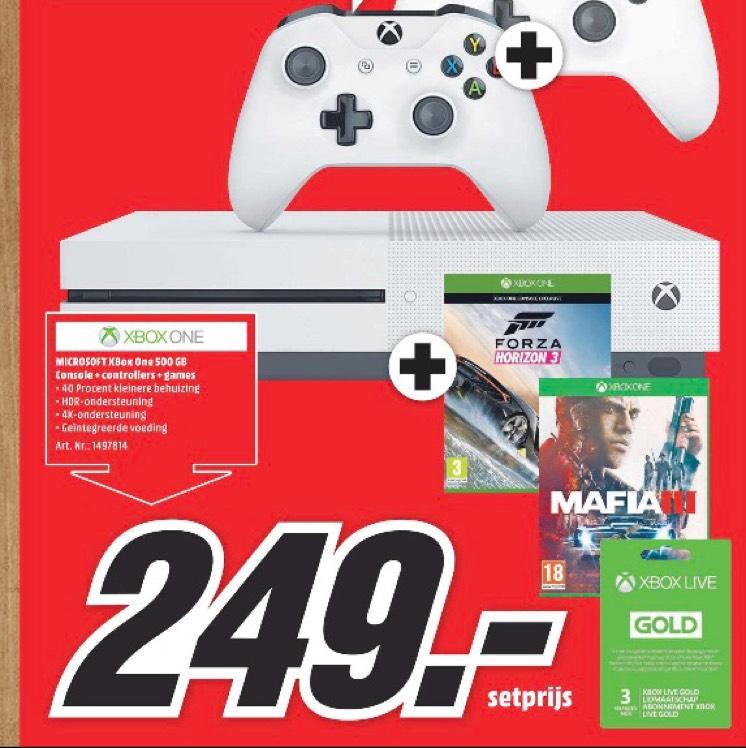 Xbox one met 2 controllers en Forza 3 en maffia 3 + 3 maanden xbox live gold voor €249 Maastricht , Heerlen , Roermond @ Mediamarkt