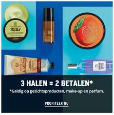 Actie: 3=2 (make-up / parfum / gezicht) + €10 extra (va €30) + gratis bodymist (va €40) @ The Body Shop