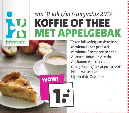 Koffie of thee + appelgebak voor € 1,- @ Intratuin (Almelo, Apeldoorn en Lochem)