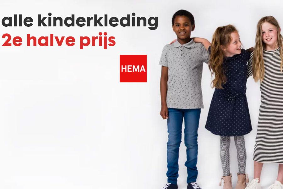 Kinderkleding 2e halve prijs (ook sale) met klantenpas @ HEMA