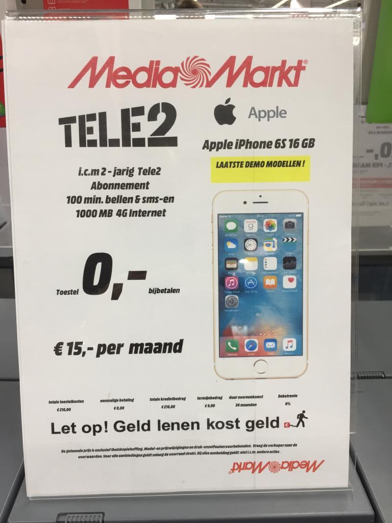 Tele2 100min + 1GB 4G icm iPhone 6S 16GB Demo voor €15pm