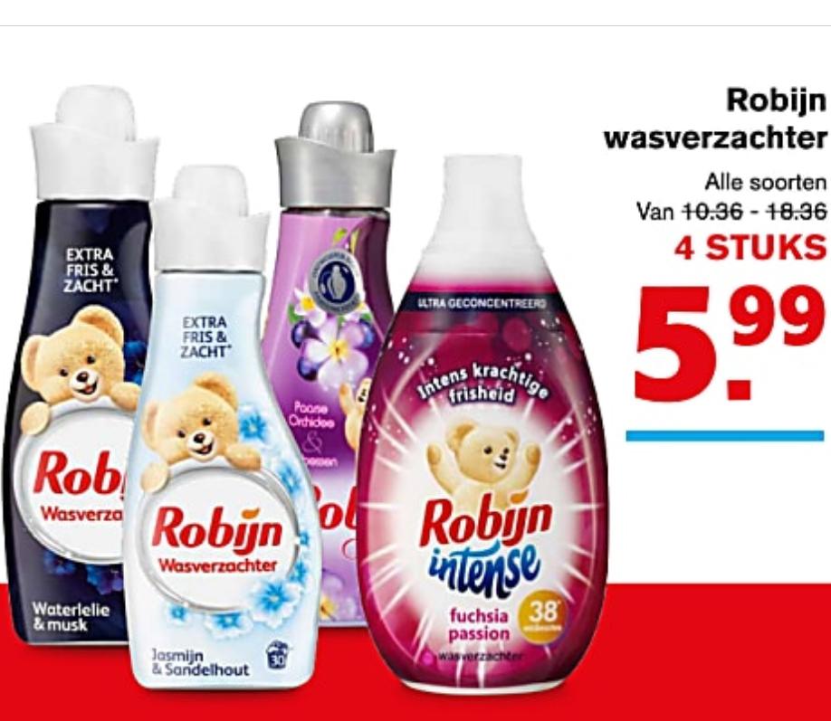 4 x Robijn wasverzachter @ Hoogvliet